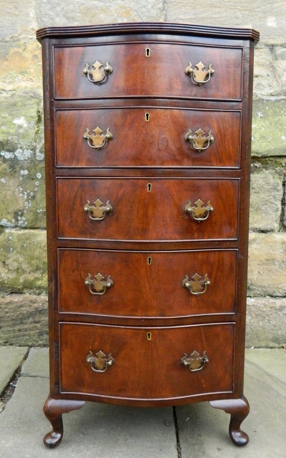 Narrow Mahogany Serpentine Chest Of Drawers Antiques Atlas