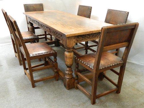 Oak Refectory Table & Chairs Antique ... - Oak Refectory Table & Chairs - Antiques Atlas