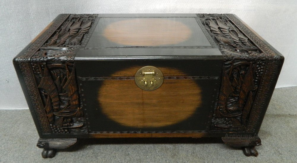 Oriental carved camphor wood trunk antiques atlas for Oriental wood carved furniture