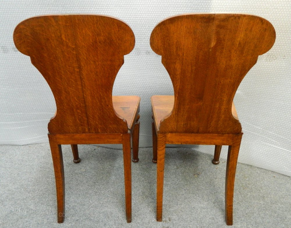 Antique Foyer Chair : Pair of oak hall chairs antiques atlas
