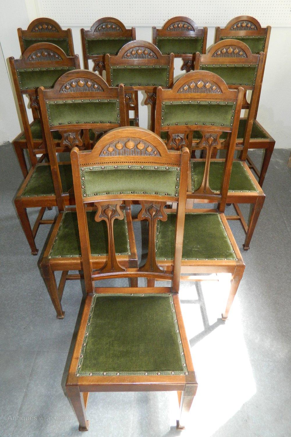 Set Of 10 Art Nouveau Dining Chairs Antiques Atlas