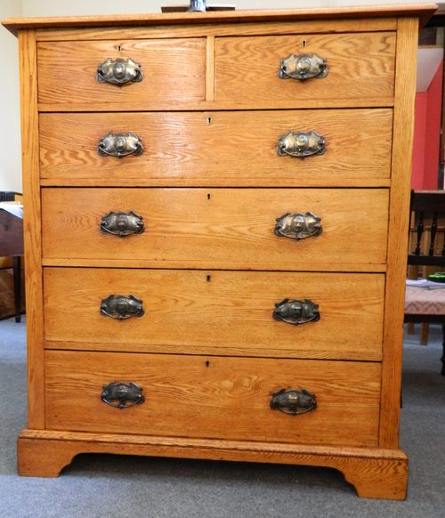 Tall Arts Crafts Oak Chest Of Drawers Antiques Atlas