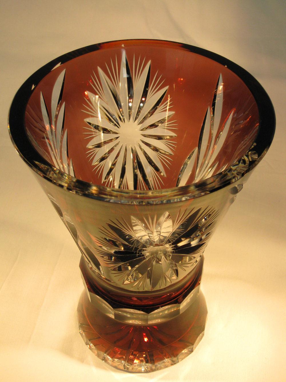 Antiques Atlas Aubergine Bohemian Cut Glass Cased Vase 1920