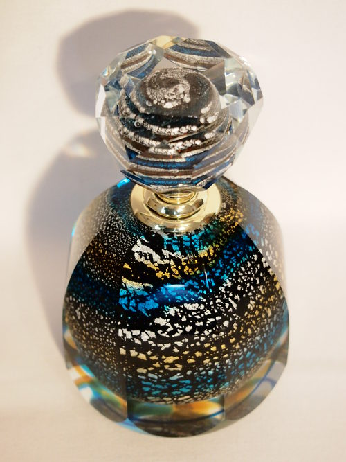 Antiques Atlas Perfume Bottle Black Silver Gold Blue
