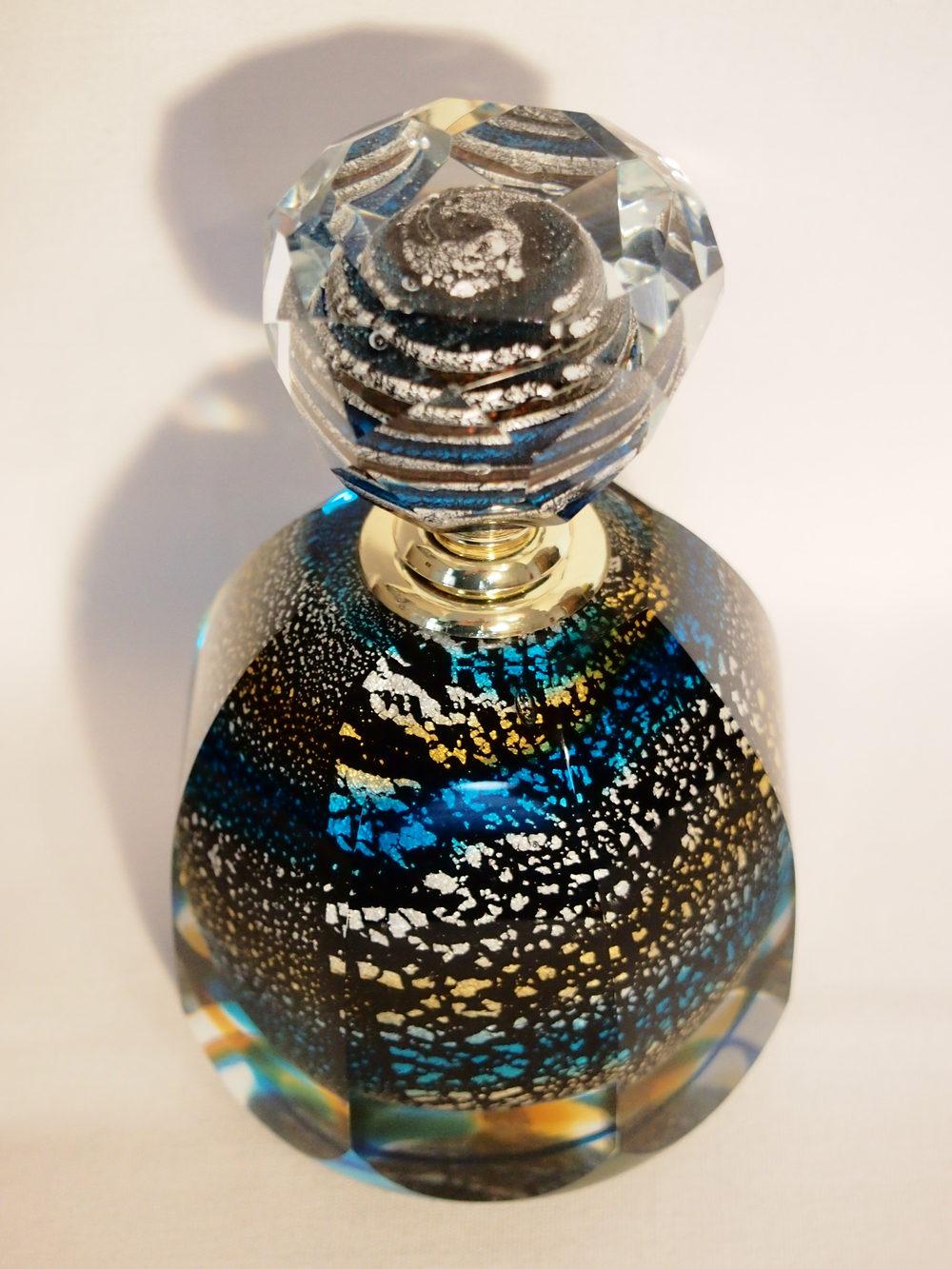 Antiques Atlas Perfume Bottle Black Silver Gold Blue