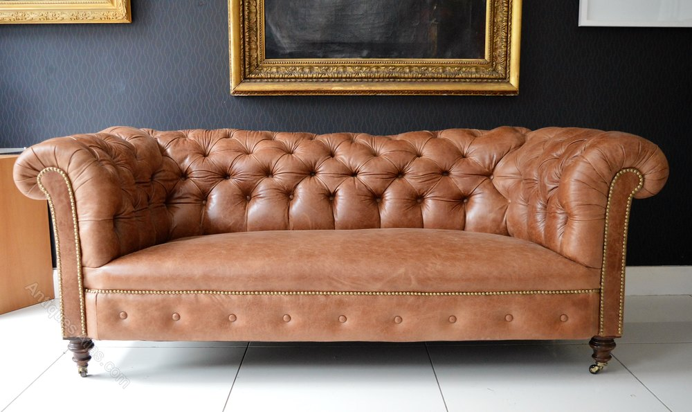 Victorian Tan Leather Chesterfield Sofa Antiques Atlas