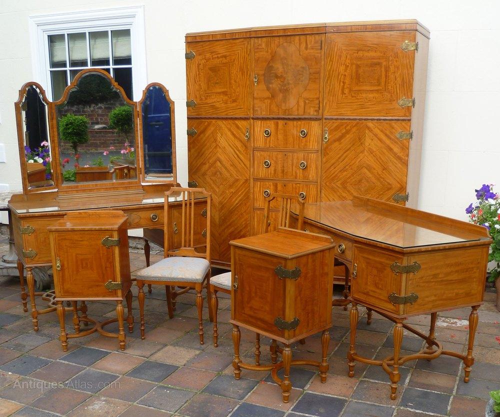 peice inlaid satinwood bedroom suite antiques atlas