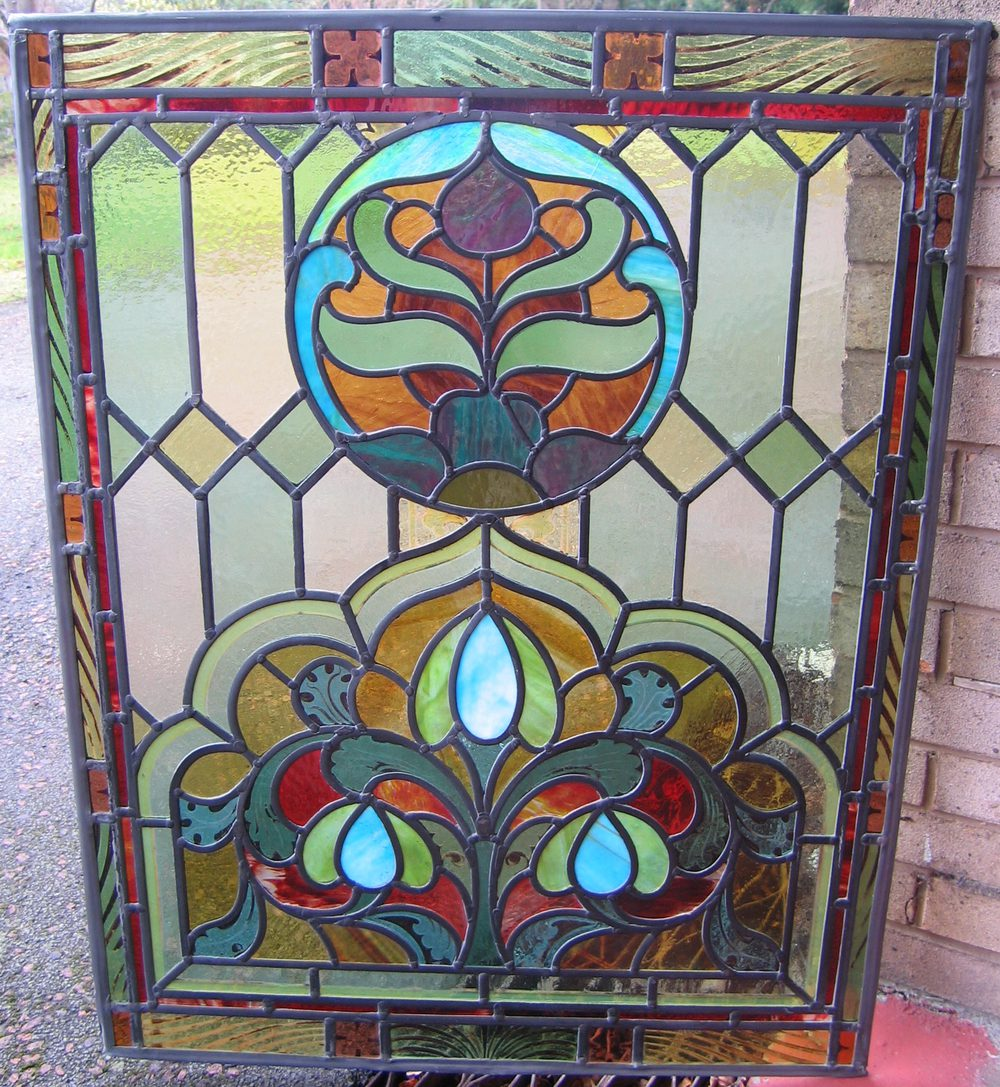 Antiques atlas eight incredible large stain glass panels for Coloured glass panels