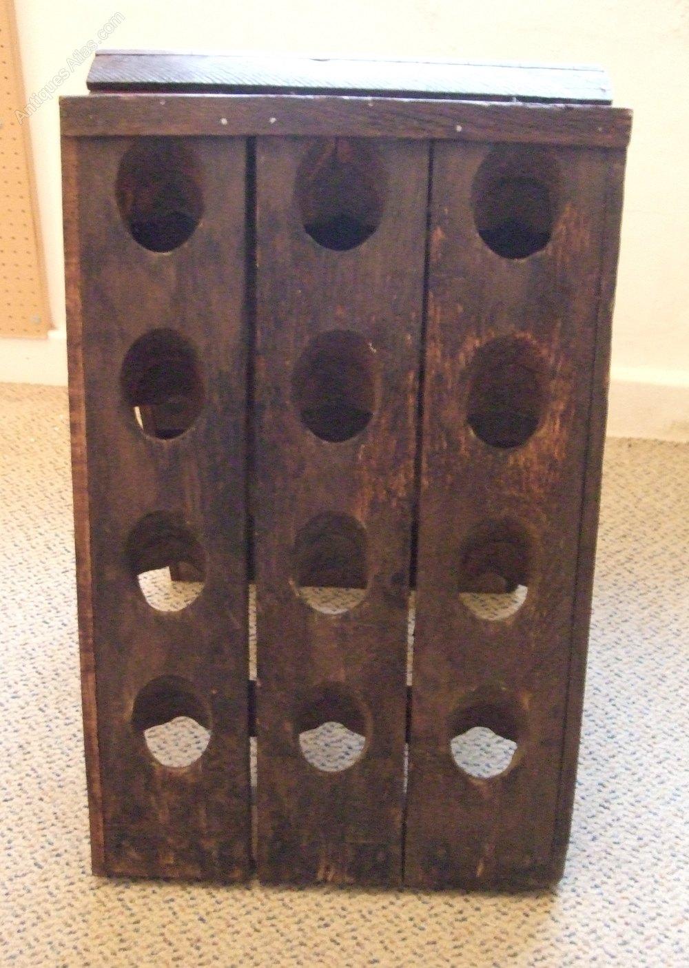 French vintage oak twenty four bottle wine rack antiques for Old wine rack