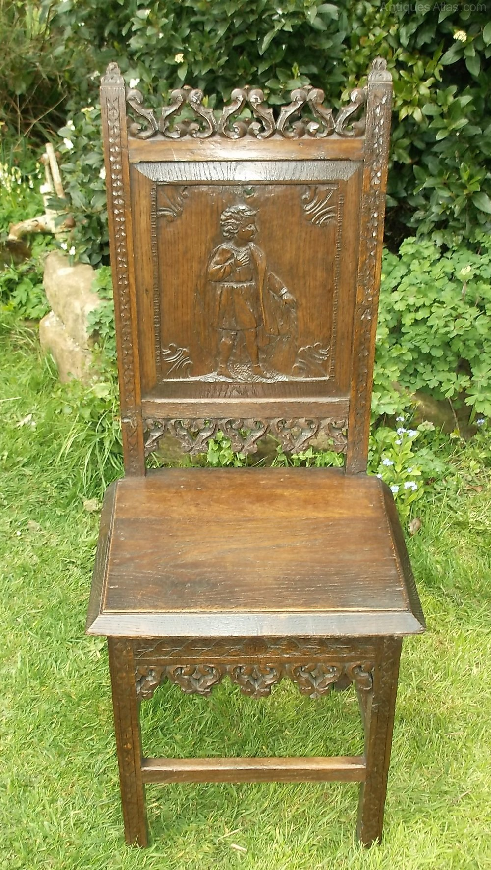 Foyer Chair Quotes : Antique period gothic oak carved hall chair antiques atlas