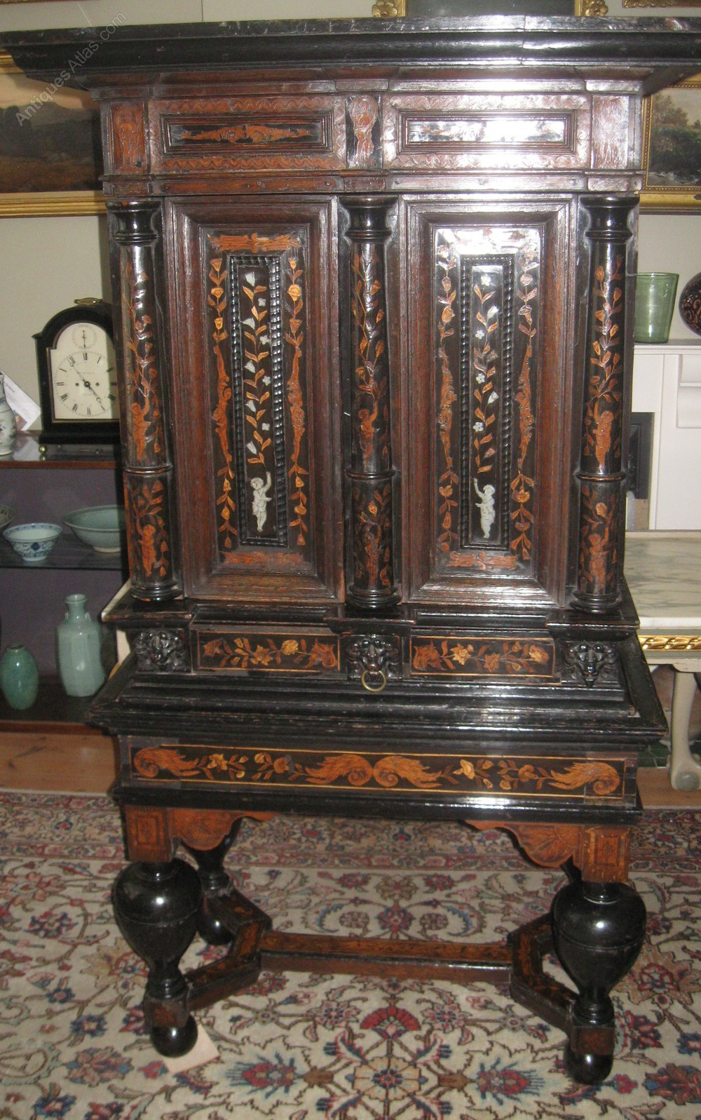 17th century marquetry cabinet on stand