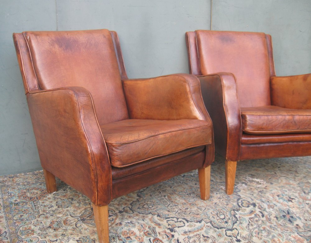 Pair of retro leather club chairs antiques atlas for Antique leather chairs