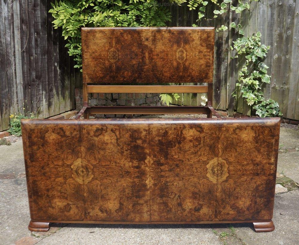 Art deco burr walnut double bed antiques atlas - Deco volwassen bed ...