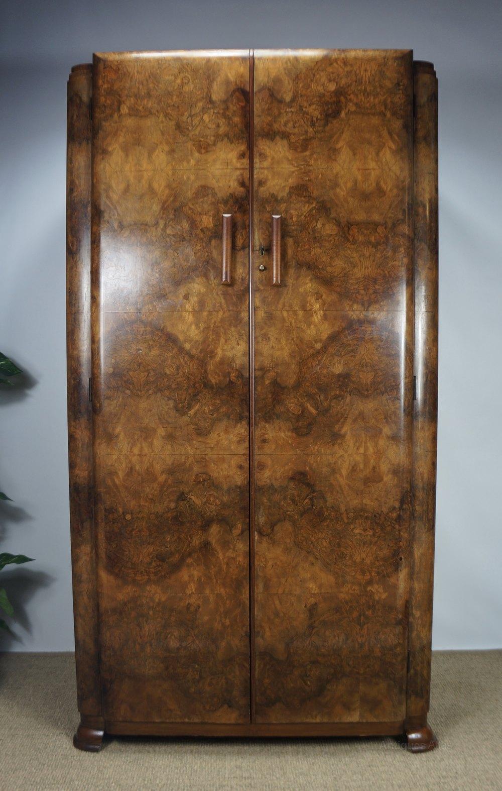 C1930s Art Deco Burr Walnut Wardrobe