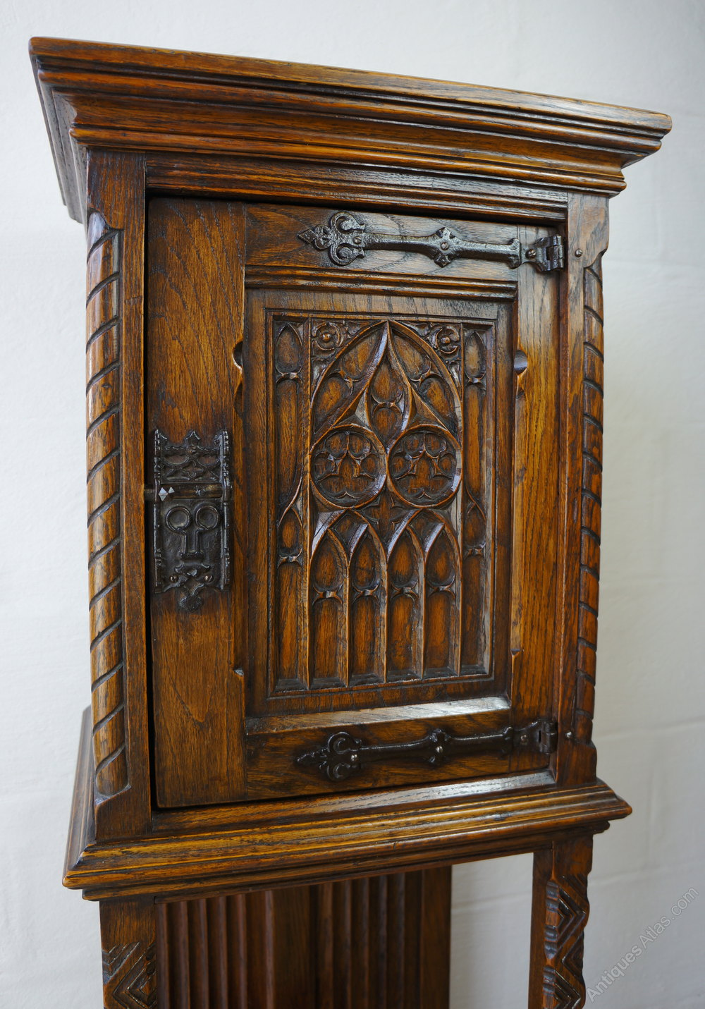 Carved Solid Oak Gothic Revival Bible Box Cabinet