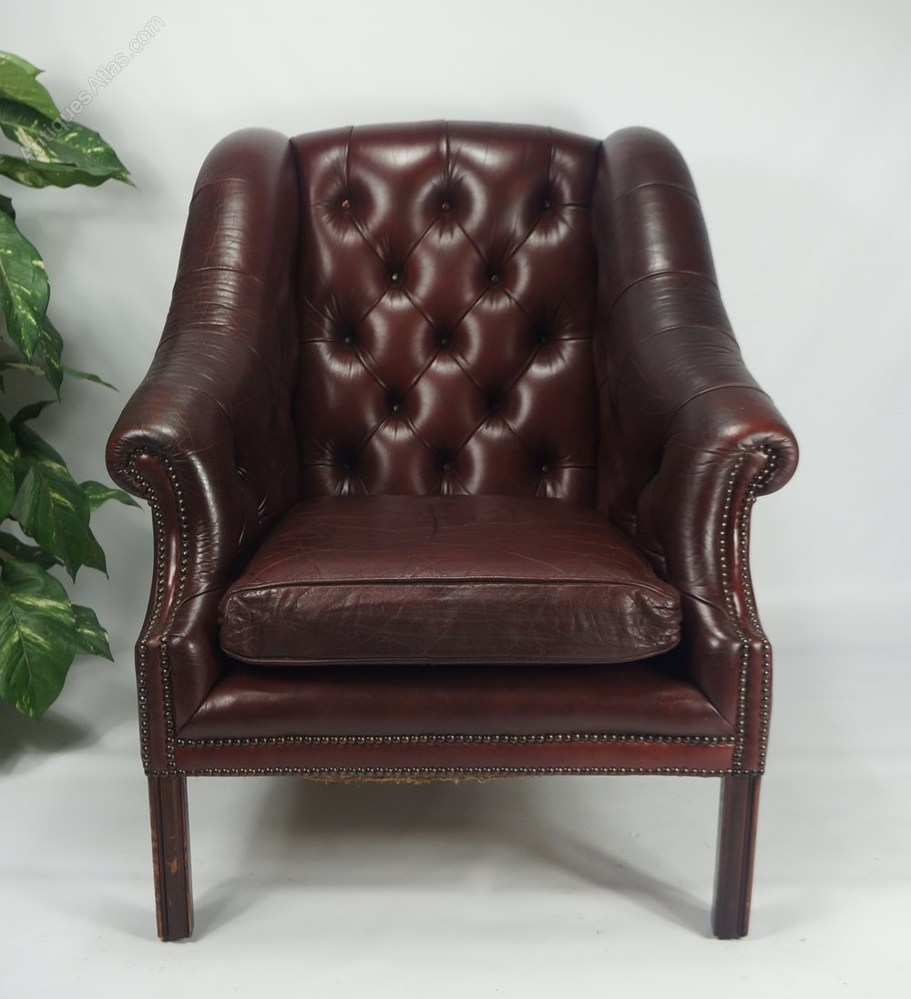 antiques atlas leather chesterfield oxblood library armchair. Black Bedroom Furniture Sets. Home Design Ideas