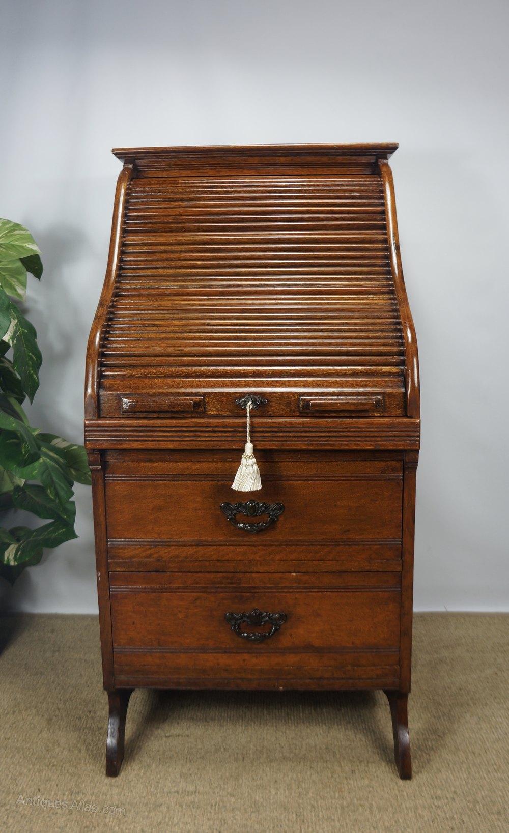 oak tambour roll top typewriter bureau desk antiques atlas. Black Bedroom Furniture Sets. Home Design Ideas