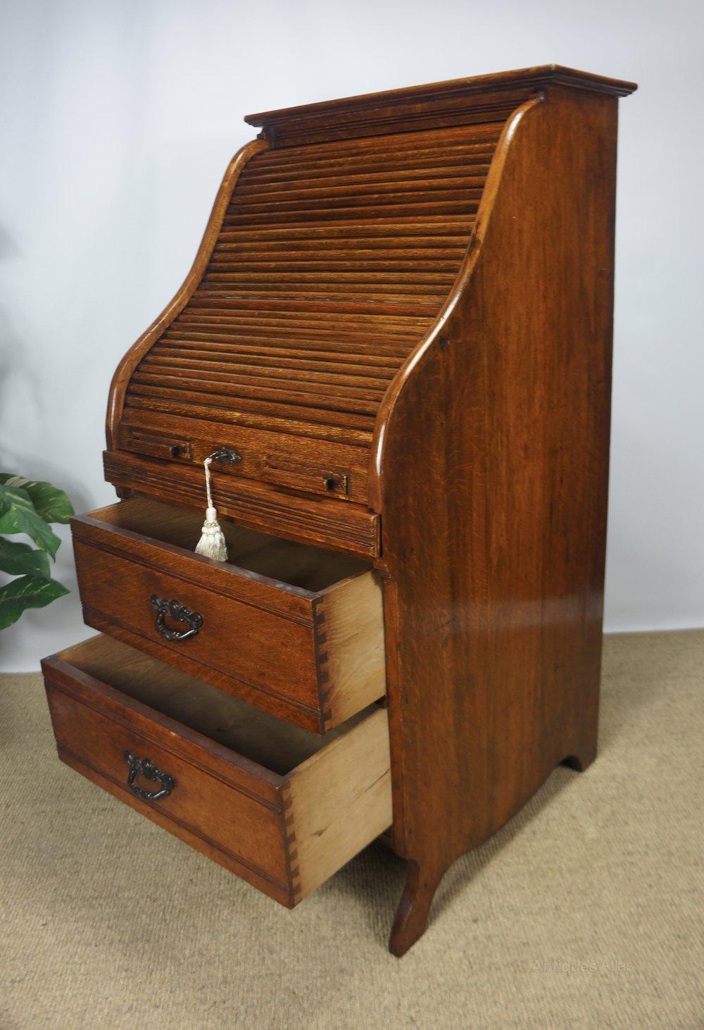 Oak Tambour Roll Top Typewriter Bureau Desk Antiques Atlas