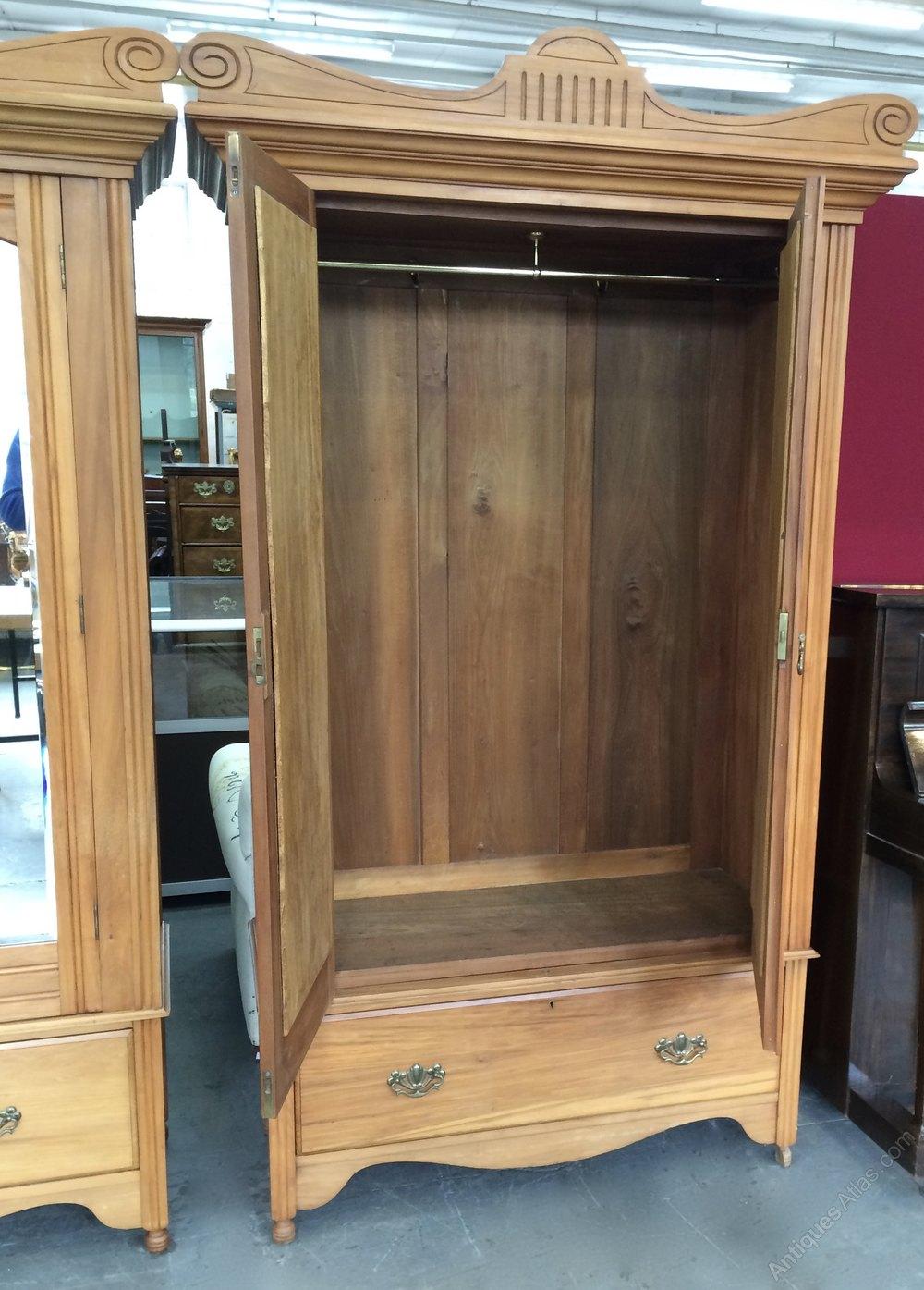satin walnut antique edwardian bedroom suite 2 pair matching wardrobes