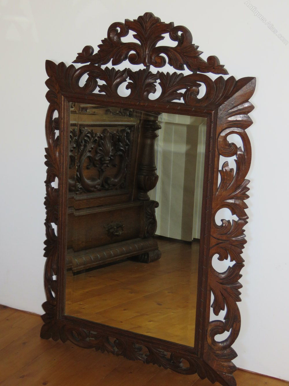 Antiques atlas french carved oak frame mirror for Antique french mirror
