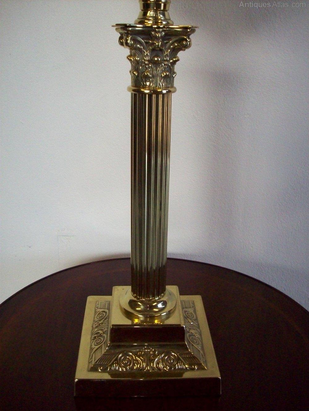 Antiques Atlas A Victorian Brass Corinthian Column Oil Lamp