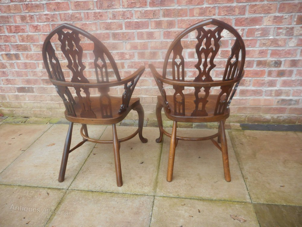 Antiques atlas gothic arm chairs matching pair for Matching arm chairs