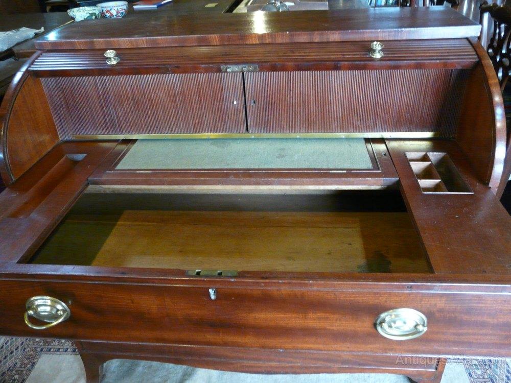 regency mahogany roll top cylinder bureau desk antiques atlas. Black Bedroom Furniture Sets. Home Design Ideas