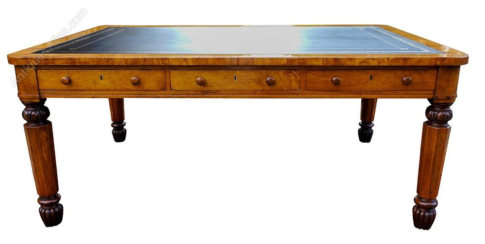 Antique William 1v Satinwood Partners Table Desk