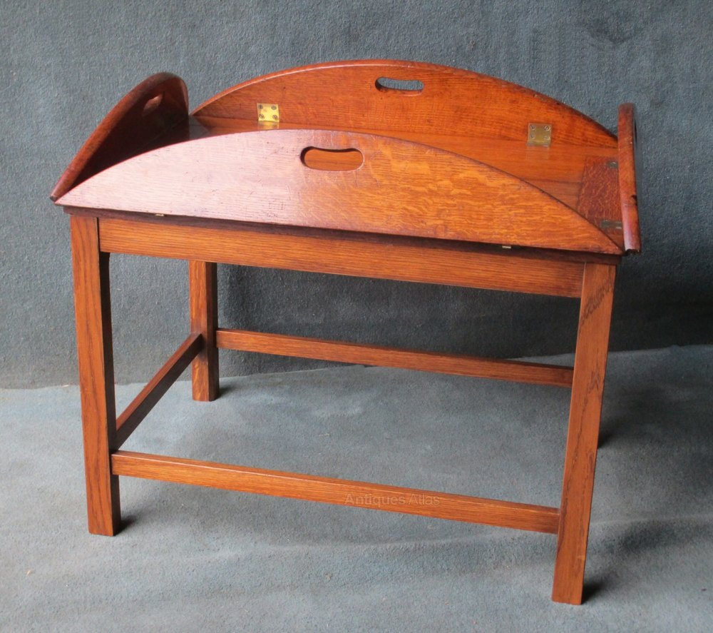 An Oak Butlers Tray With Folding Sides On Later Stand