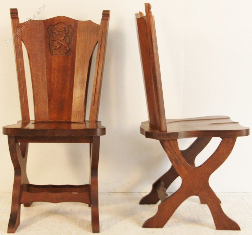 Amazing Set Of 8 Gothic Oak Dining Chairs Antiques Atlas