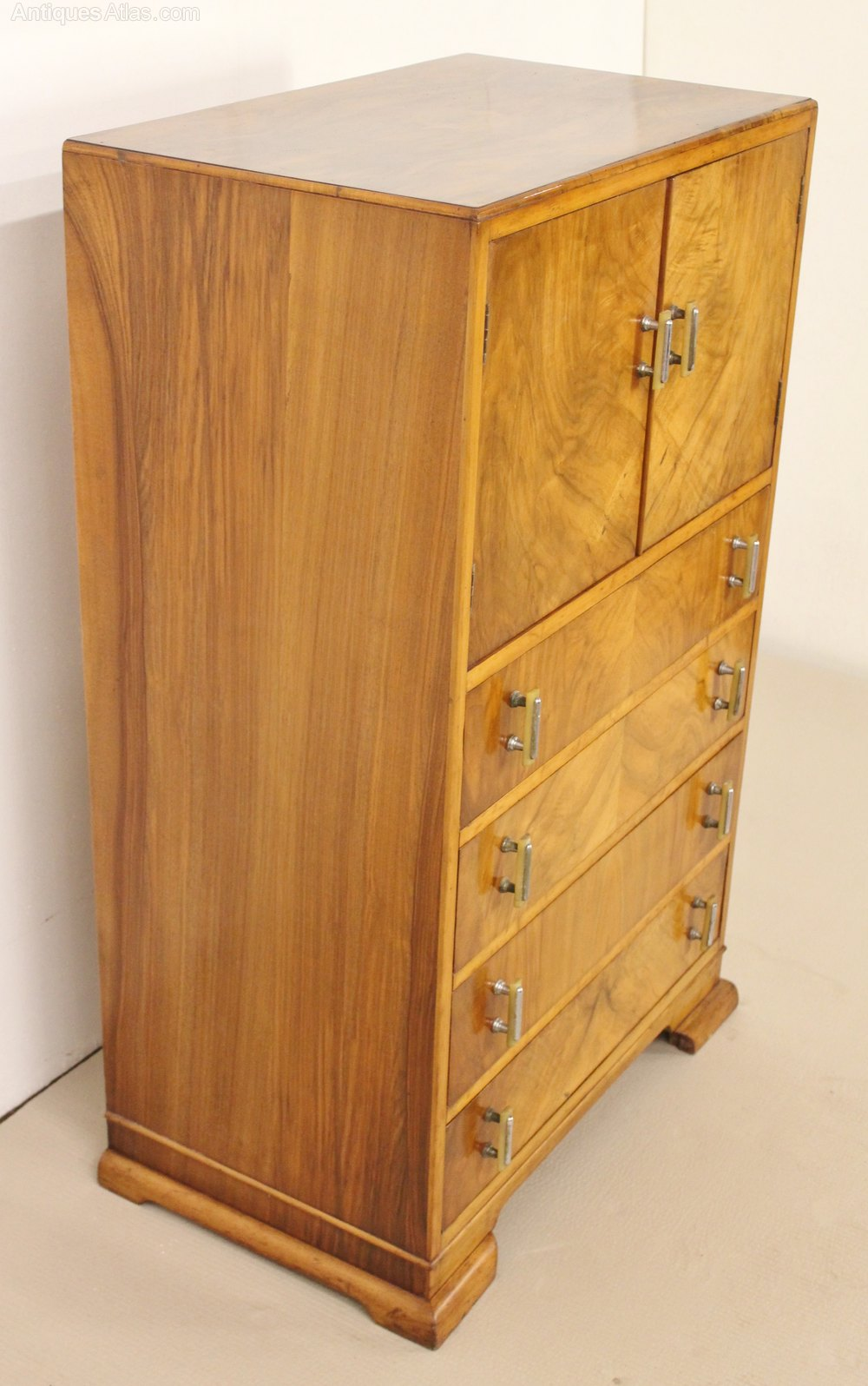 Art deco burr walnut linen press antiques atlas for Linen press