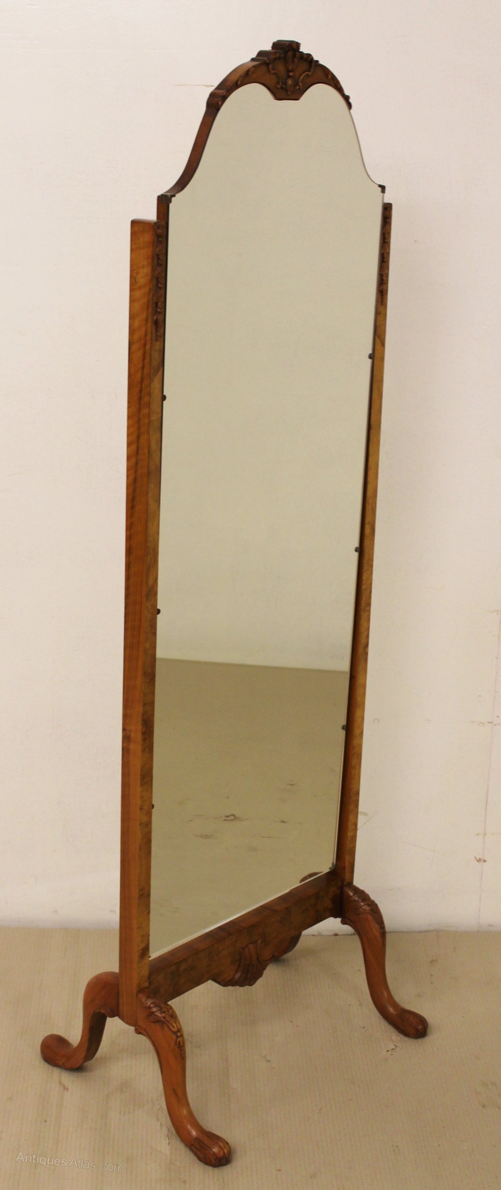 Antiques atlas burr walnut cheval mirror for Cheval mirror