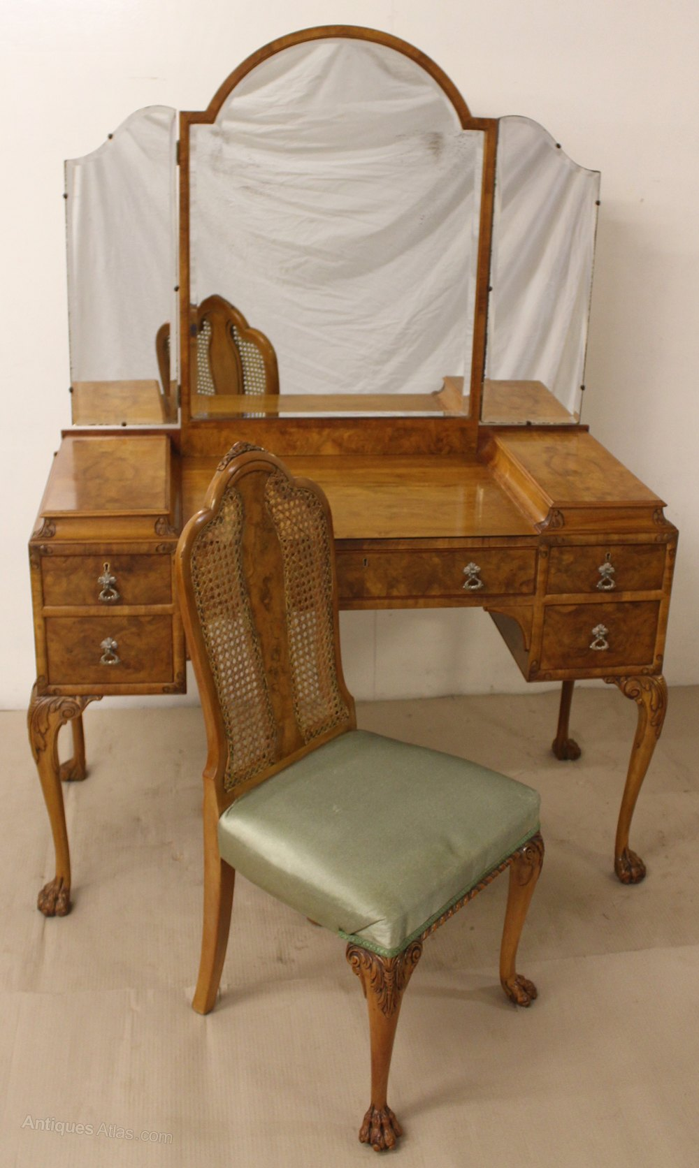 Dressing Table Chairs And Stools: Burr Walnut Dressing Table And Matching Chair