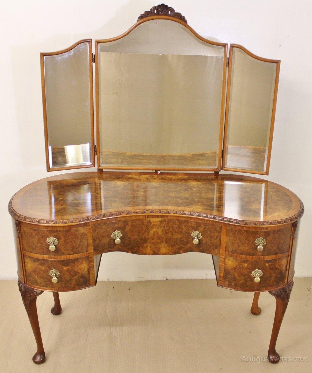 Burr walnut kidney shaped dressing table antiques atlas for Walnut dressing table