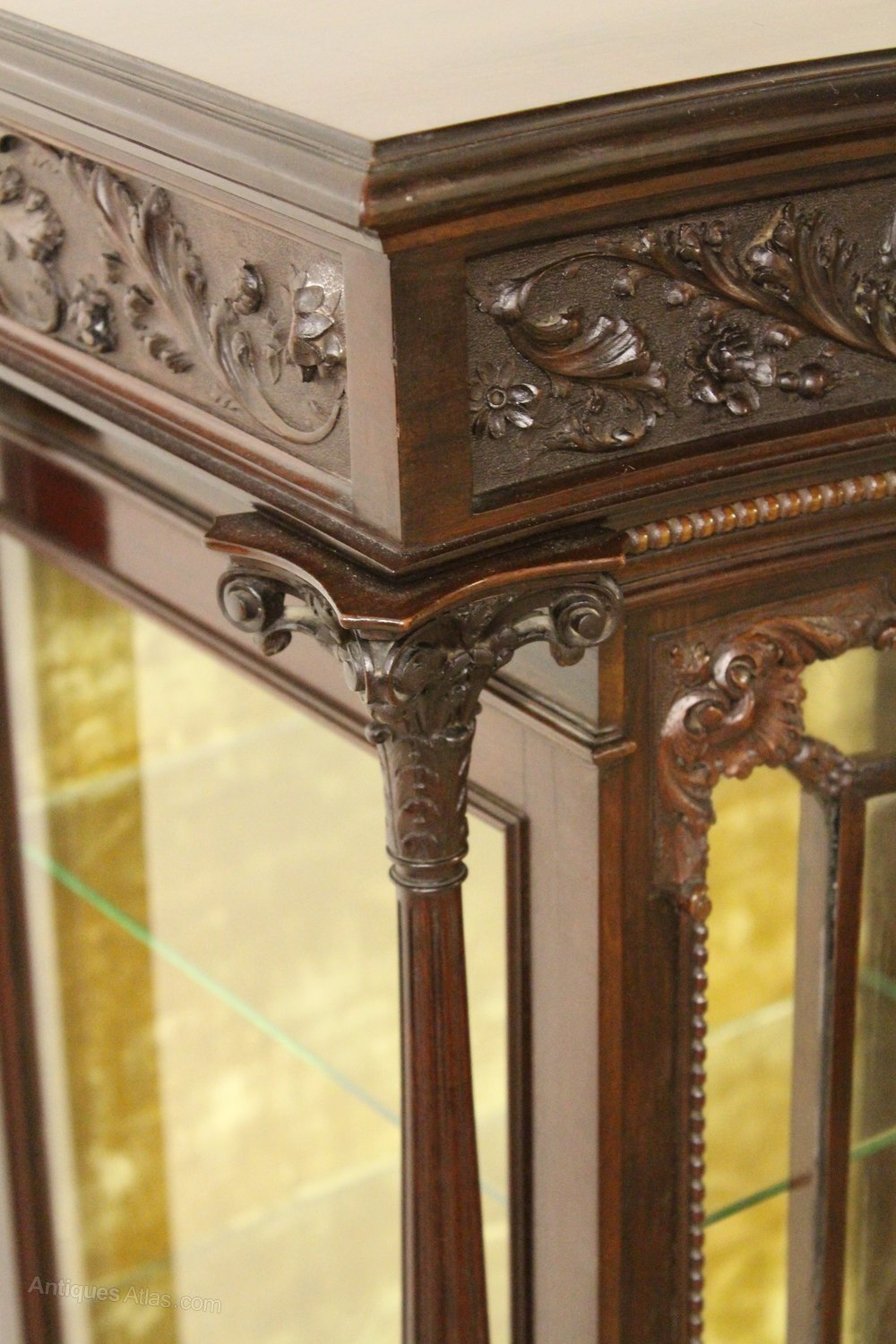 Carved mahogany display cabinet antiques atlas for Carved kitchen cabinets