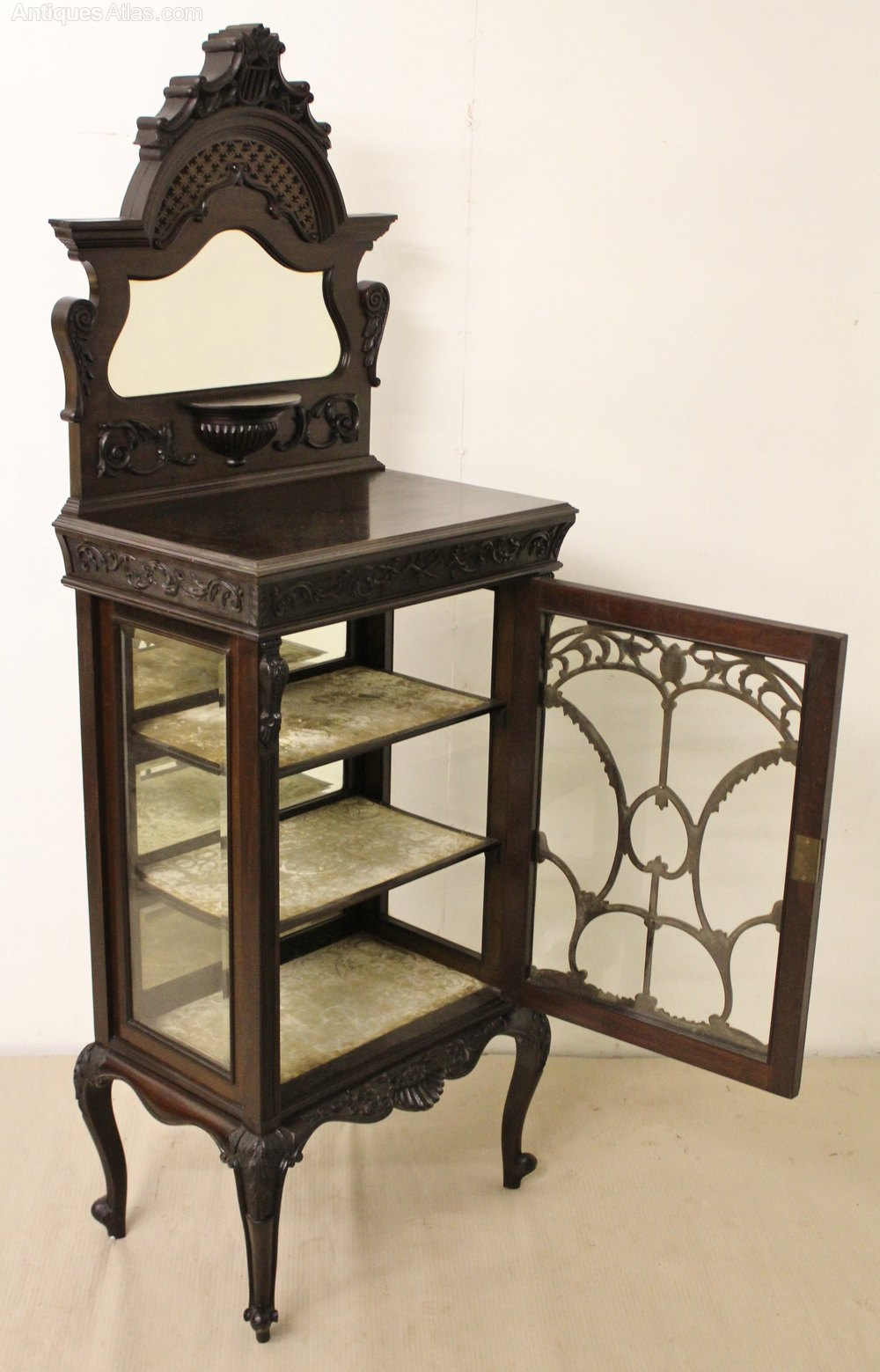Carved mahogany music cabinet antiques atlas for Carved kitchen cabinets