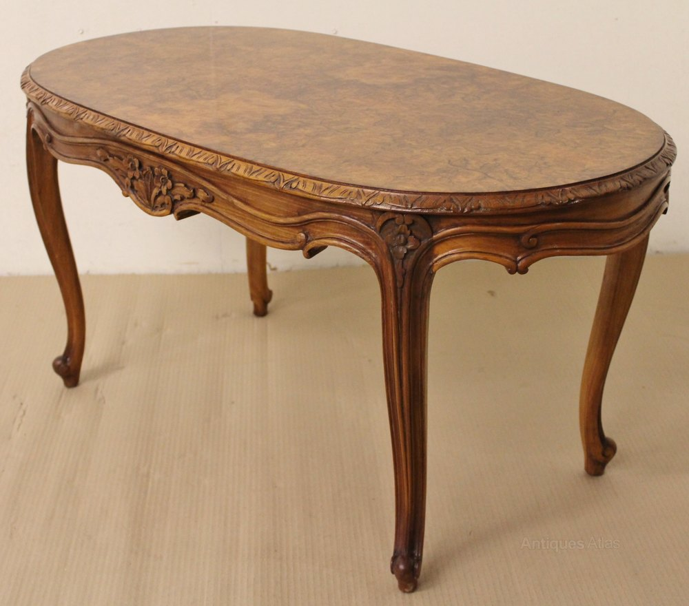 Oval Coffee Table Antique: Oval Burr Walnut Coffee Table