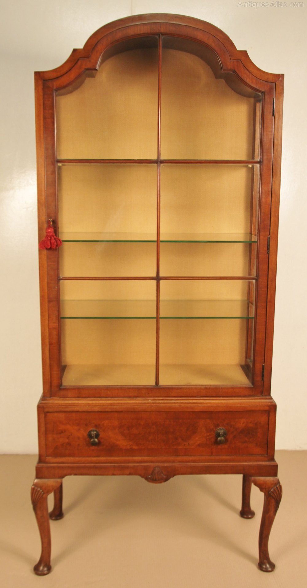 Queen anne style burr walnut display cabinet antiques atlas for Antique display cabinet