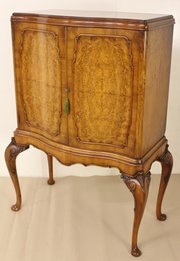 ... Antiques Serpentine Burr Walnut Cabinet