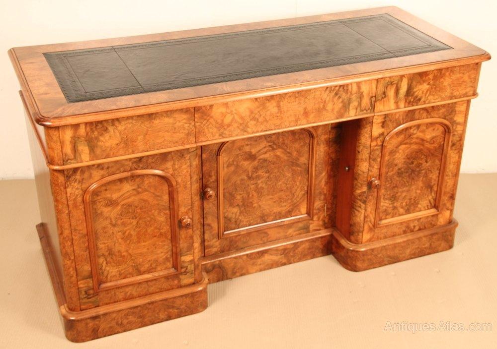 Victorian burr walnut knee hole desk antiques atlas - Antique peephole ...