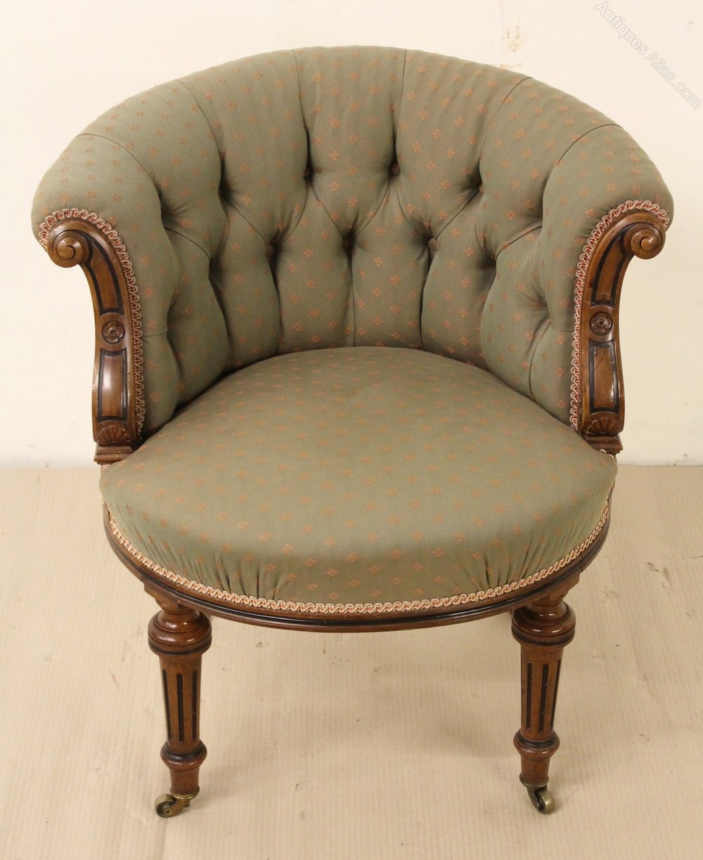 Victorian Walnut Upholstered Tub Chair Antiques Atlas