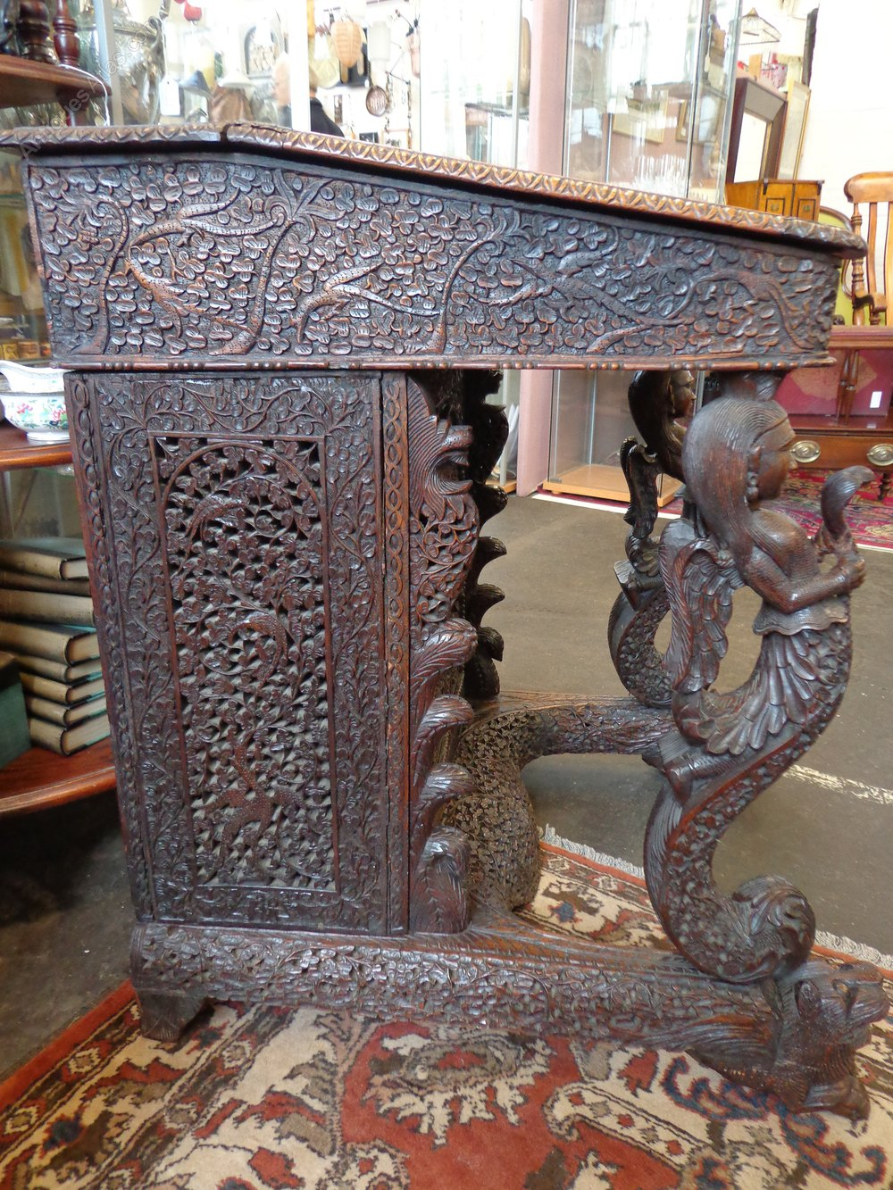 Late 19th Century Indian Carved Davenport Desk Antiques
