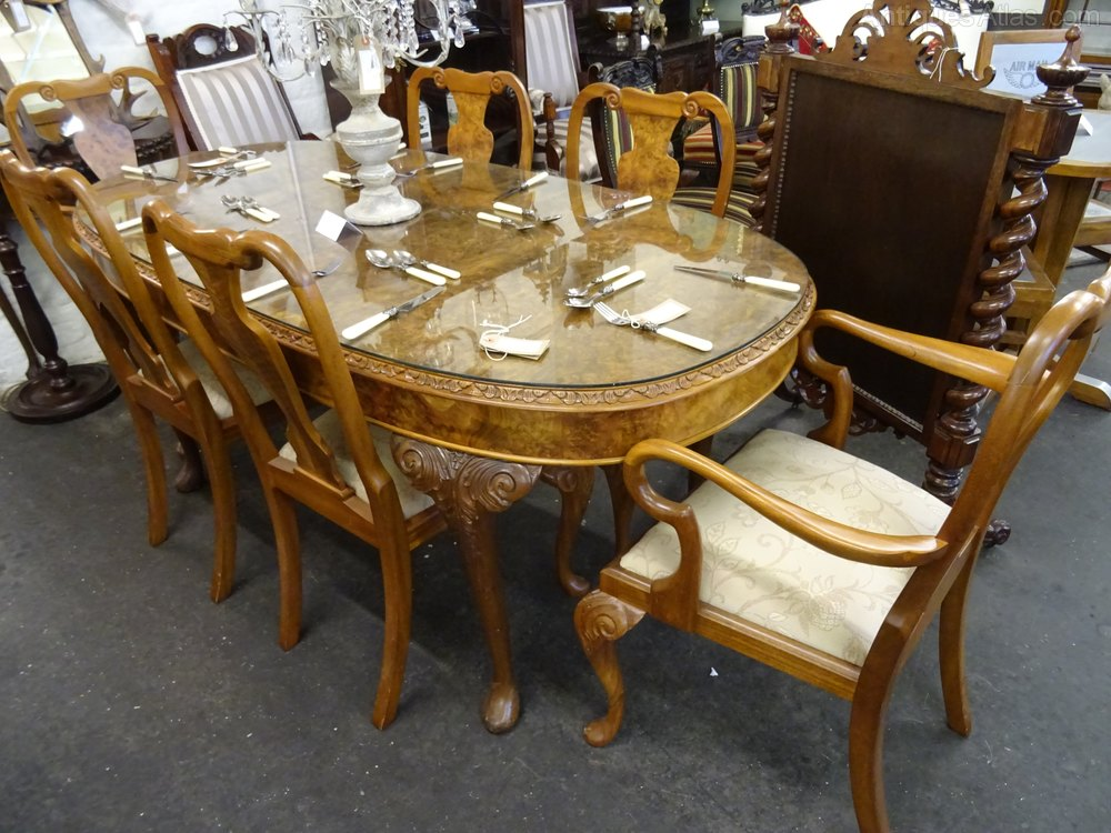 antiques atlas mid 20th century walnut dining table six chairs