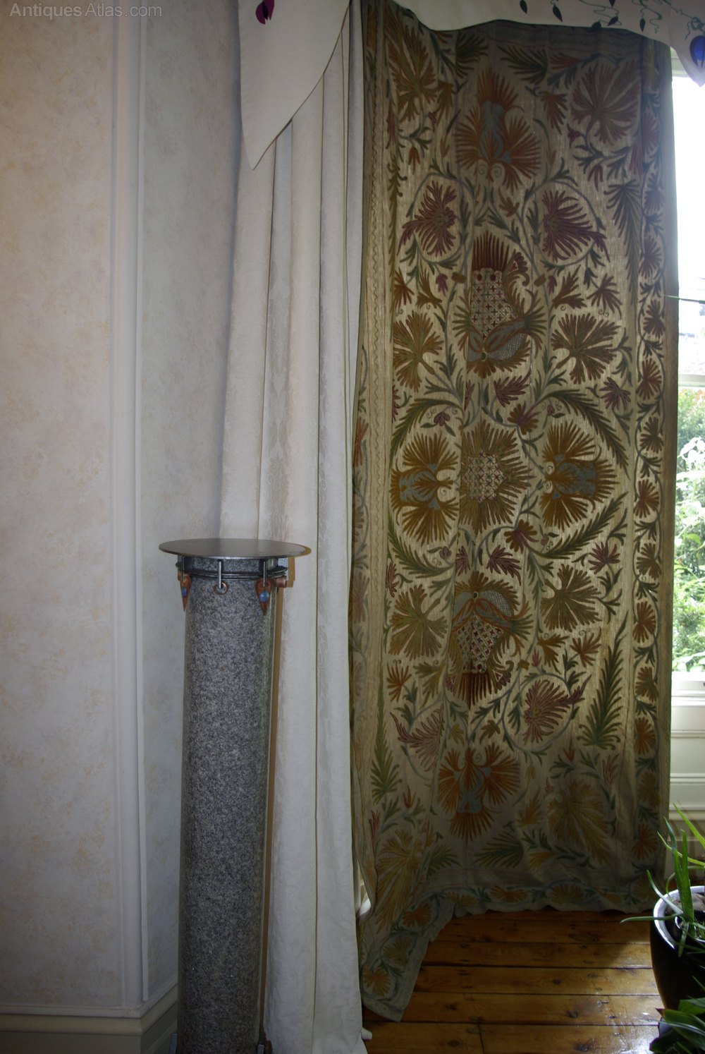 Vintage Textiles And Embroidery Pair Curtains Arts Crafts %%alt5%% ...