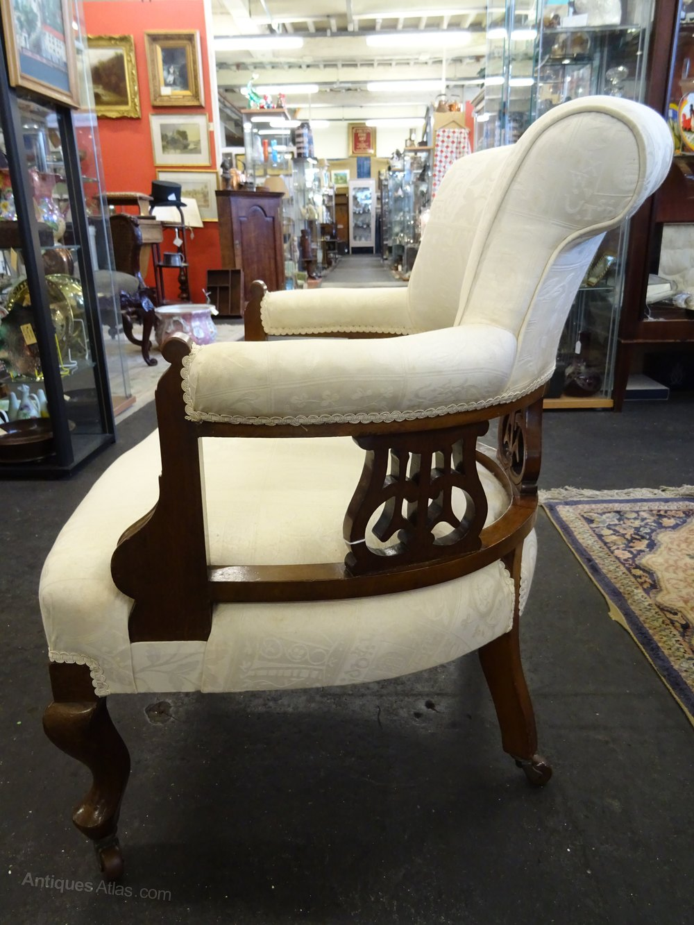 Victorian Upholstered Mahogany Occasional Chair
