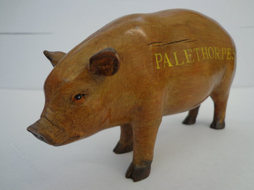 Antiques Atlas Vintage Palethorpes Wooden Advertising Pig