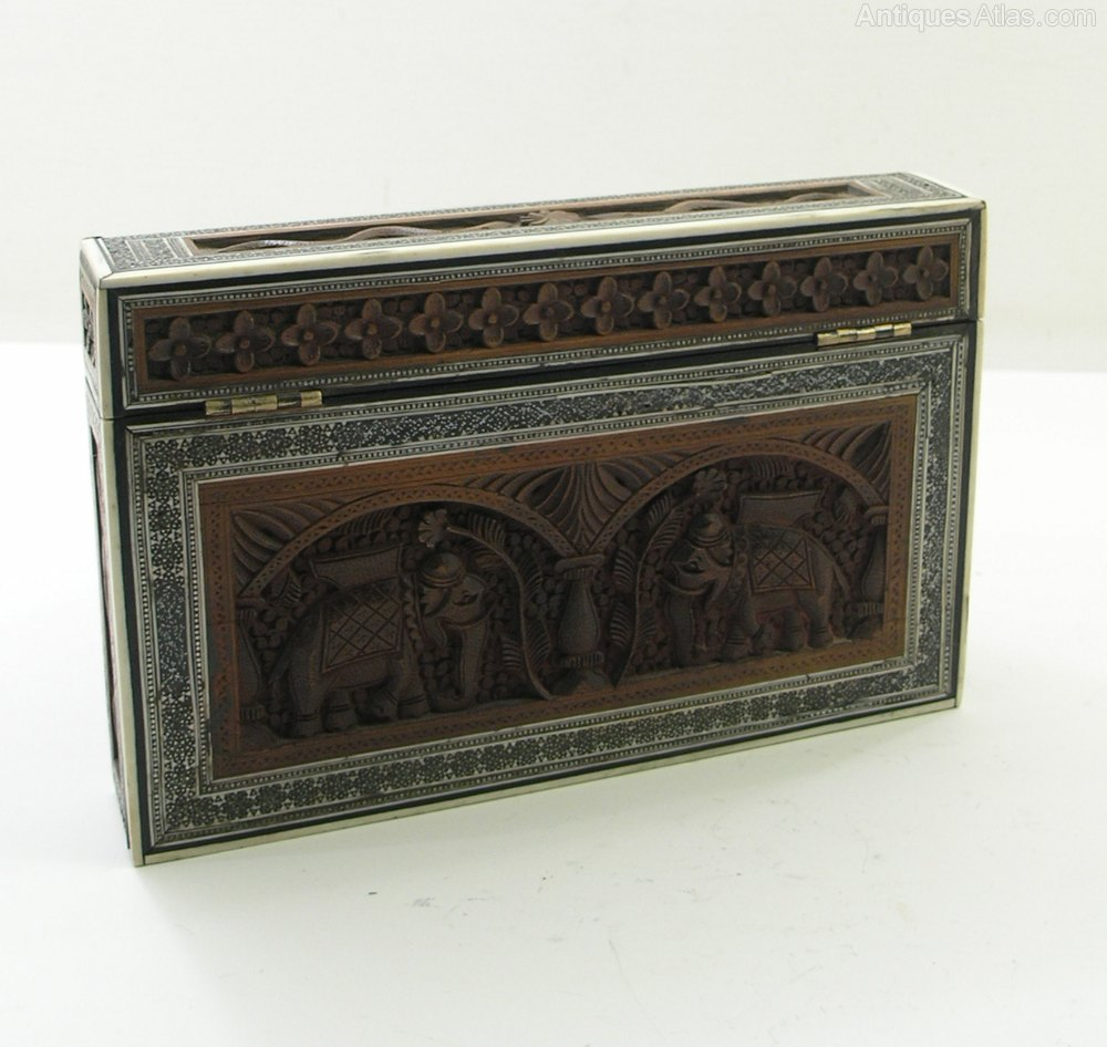 Antiques atlas fine quality indian carved stationery box