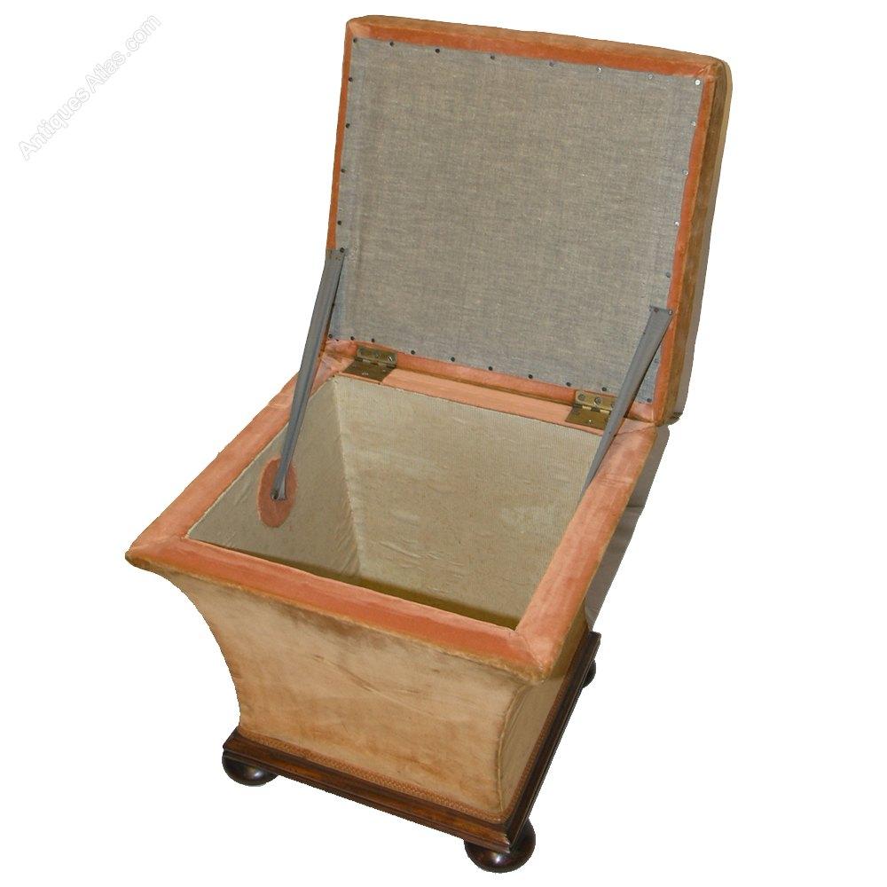 good all original square box stool or ottoman antiques atlas. Black Bedroom Furniture Sets. Home Design Ideas