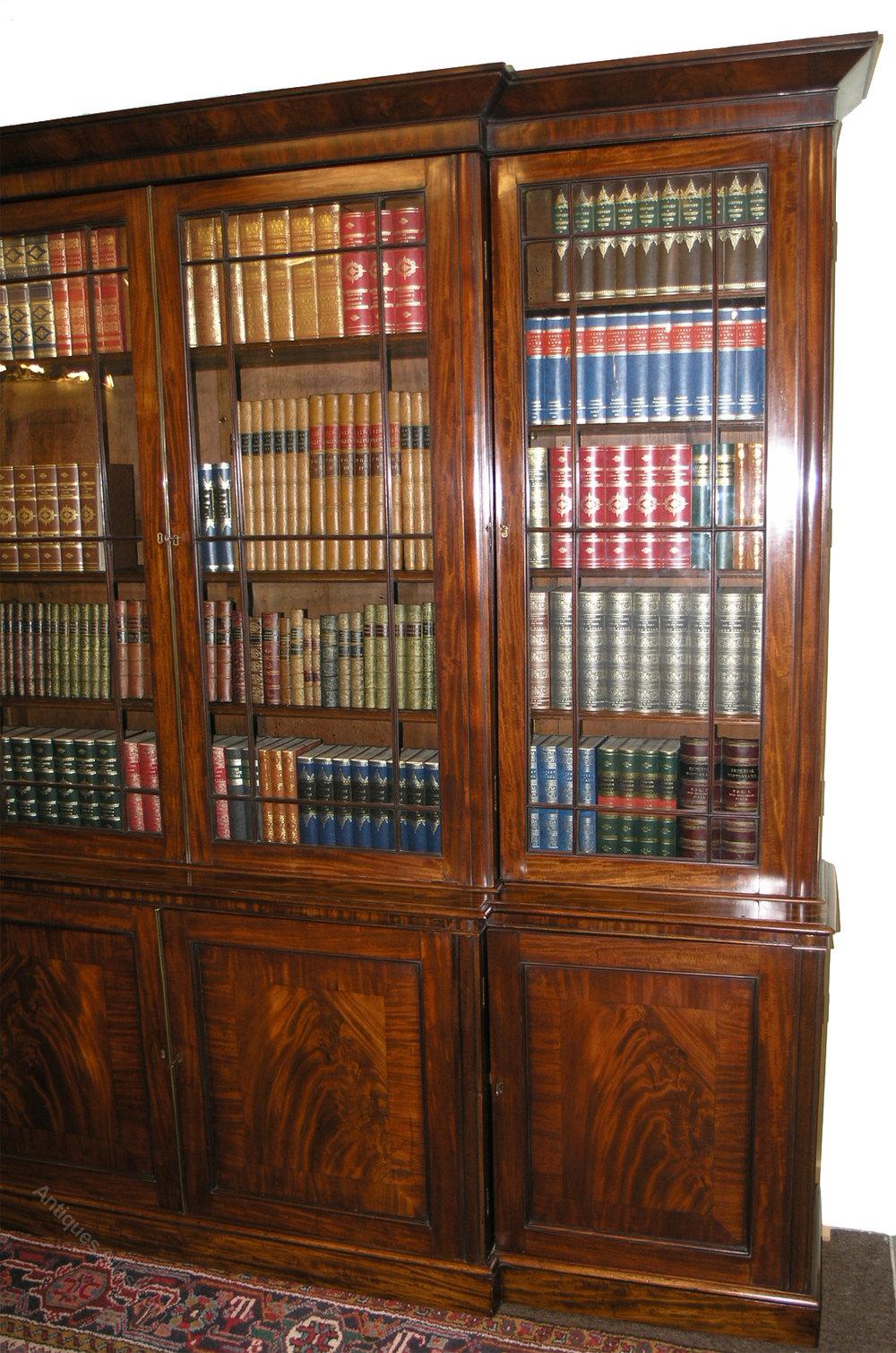 Large Georgian Mahogany Breakfront Bookcase Antiques Atlas
