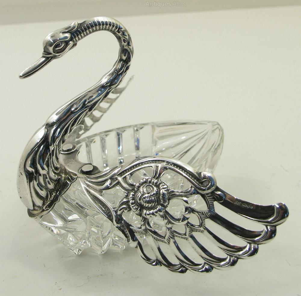 Antique Glass Swans